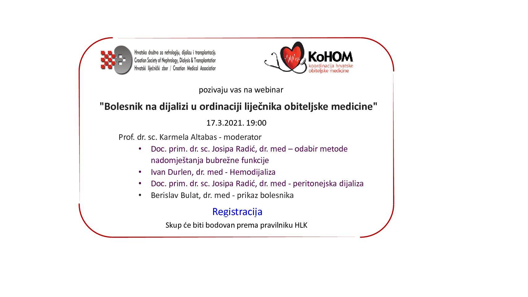 Webinar: Bolesnik na dijalizi u ordinaciji liječnika obiteljske medicine